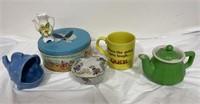 Home decor, mugs, tea pot, cookie dish, candy