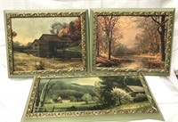 3 vintage framed pictures