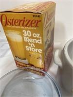 Vintage pots and cobbler dish, Osterizer