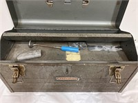 Craftsman metal toolbox with some contents inside