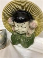 Vintage Japanese figurines-the green figurine