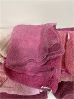 Pink bath towels and hand towels