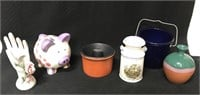 Haeger ashtray, blue crock and other decorative