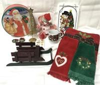 Christmas lot with tin, window hanging, musical