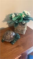 Decorative flower and turtle
