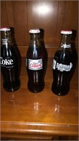 3 collector coke glass bottles