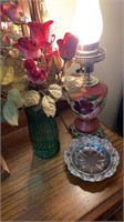 Lamp, flowers, tray