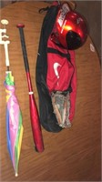 Metal cart, baseball bag w/ glove, bat an helmet