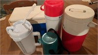 Cooler, thermos, cups