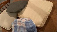 Seat cushions and blanket