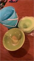 Buckets bowls plates