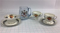 Elizabeth II Foley China Teacups & Blue Glass Mug