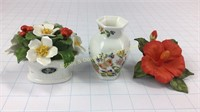 3 Floral China Decorations Aynsley Plus