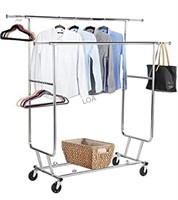 Commercial Double Rolling Garment Rack