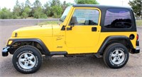 2001 Jeep Wrangler.  This item will be sold at live auction. More info and pics can be found in the catalog.  If unable to attend, you can place a MAX ABSENTEE BID simply by registering to bid, then go to catalog to bid.  Bidding opens 7/4/20, all Max bids must be placed by 6 am 7/18/20.  If you are the winning bidder, you will be notified immediately after the item is sold to make payment and pick up arrangements.