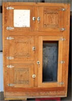 Tall Oak Ice Box, (seller was going to replace door inserts w/tin, comes w/pc of tin if wanted)