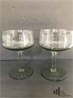Set of 7 Smokey Wine Glasses