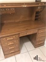 Oak Roll Top Desk With Office Chair