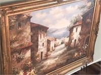 Framed Oil Painting Village Street Scene