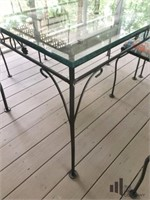 Metal Outdoor Glass Top Table and Chairs