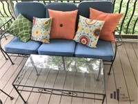 Outdoor Metal Couch with Side and Coffee Tables