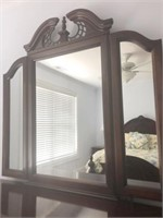 Cherry Colored Dresser with Trifold Mirror