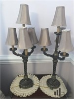 Pair of Ornate Gold Toned Table Lamps