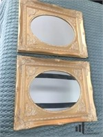 Pair of Oval Mirrors in Gold Toned Frames