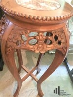 Wooden Granite Top Plant Stand
