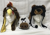 3 plush hats-stands not included