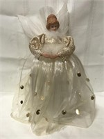 Angel light up tree topper, mini trolley car and