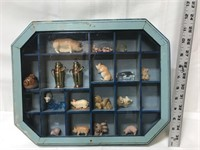 Wooden shadow box with miniatures