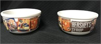 2 Hersey's syrup cereal bowls