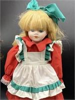 2 Vintage Porcelain Dolls on stands