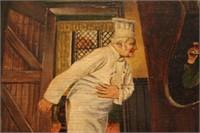 Antique Restaurant Scene Oil Painting