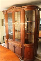 Inlaid Dinning Set - Table, Chairs, China Cabinet