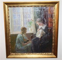 19th Cent. Friis Nybo - Antique Oil - Needlepoint