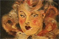 French Oil Portrait of Attractive Woman