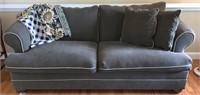 Chesterfield rolled arm green sofa w/grey piping