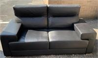 Black leather cushion sofa