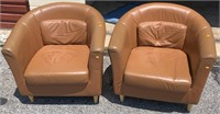 Pr. IKEA brown leather barrel chairs