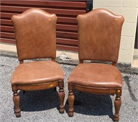 Pr. brown leather side chairs