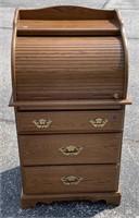 Petite oak roll top desk