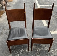 Pair of unusual oak chairs
