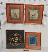 4 Asian silk embroidery framed