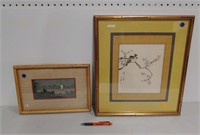 2 Asian hand painted paintings
