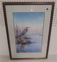 Eweil W/C framed marsh scene w/heron