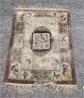 Silk & wool(?) hand woven mat