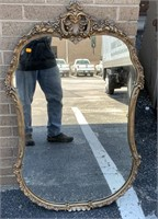 Vintage wood gesso wall mirror