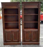 Pr. illuminated book/curio cabinets